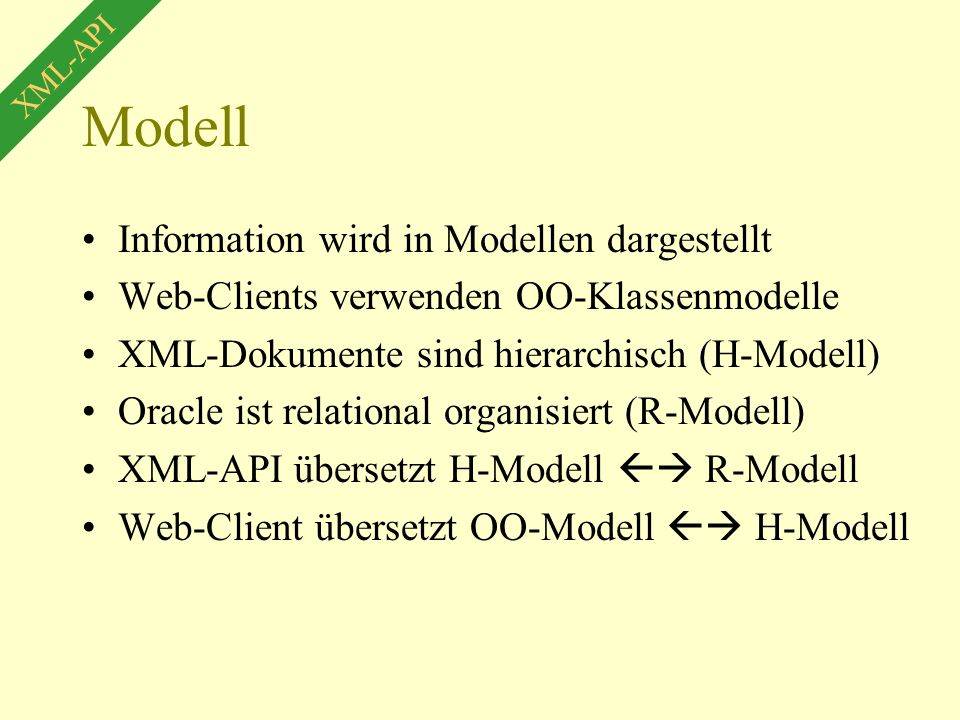 Modell Information wird in Modellen dargestellt Web-Clients verwenden OO-Klassenmodelle XML-Dokumente sind hierarchisch (H-Modell) Oracle ist relational organisiert (R-Modell) XML-API übersetzt H-Modell  R-Modell Web-Client übersetzt OO-Modell  H-Modell XML-API