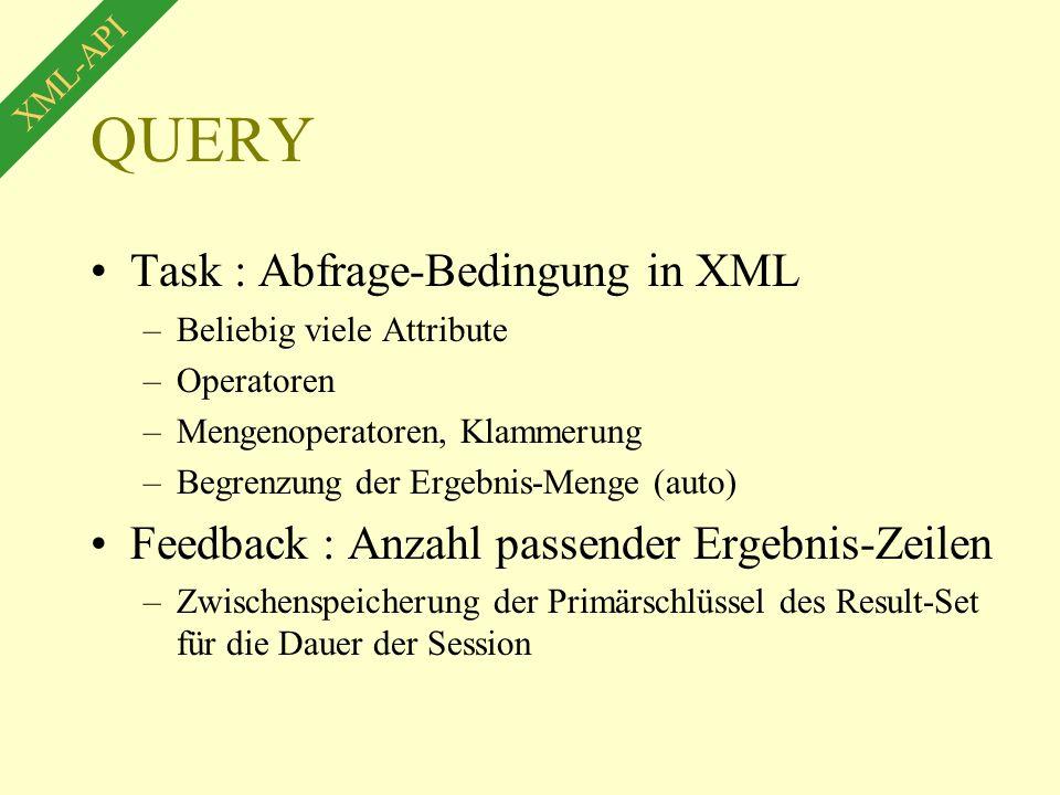 QUERY Task : Abfrage-Bedingung in XML –Beliebig viele Attribute –Operatoren –Mengenoperatoren, Klammerung –Begrenzung der Ergebnis-Menge (auto) Feedback : Anzahl passender Ergebnis-Zeilen –Zwischenspeicherung der Primärschlüssel des Result-Set für die Dauer der Session XML-API