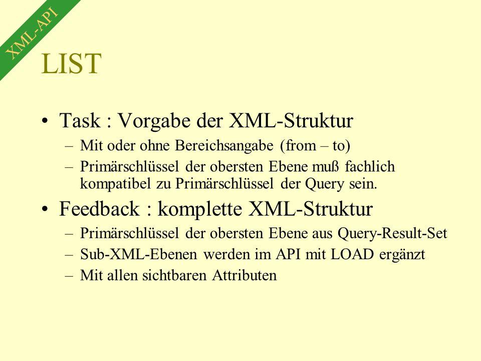 LIST Task : Vorgabe der XML-Struktur –Mit oder ohne Bereichsangabe (from – to) –Primärschlüssel der obersten Ebene muß fachlich kompatibel zu Primärschlüssel der Query sein.