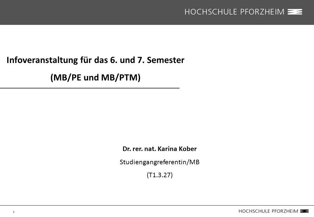 1 Infoveranstaltung für das 6. und 7. Semester (MB/PE und MB/PTM) Dr.