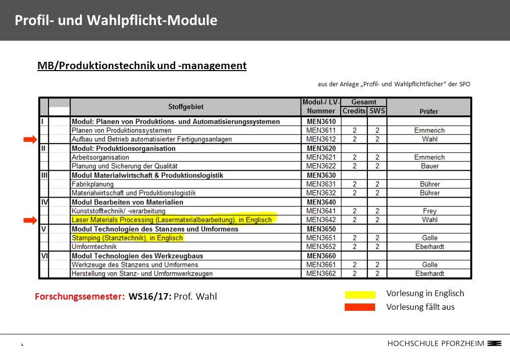 """6 Profil- und Wahlpflicht-Module MB/Produktionstechnik und -management aus der Anlage """"Profil- und Wahlpflichtfächer der SPO Forschungssemester: WS16/17: Prof."""