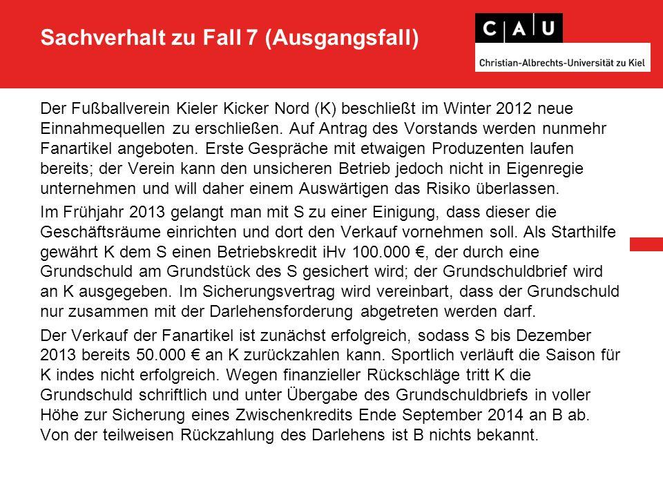 Sachverhalt zu Fall 7 (Ausgangsfall) Der Fußballverein Kieler Kicker Nord (K) beschließt im Winter 2012 neue Einnahmequellen zu erschließen.