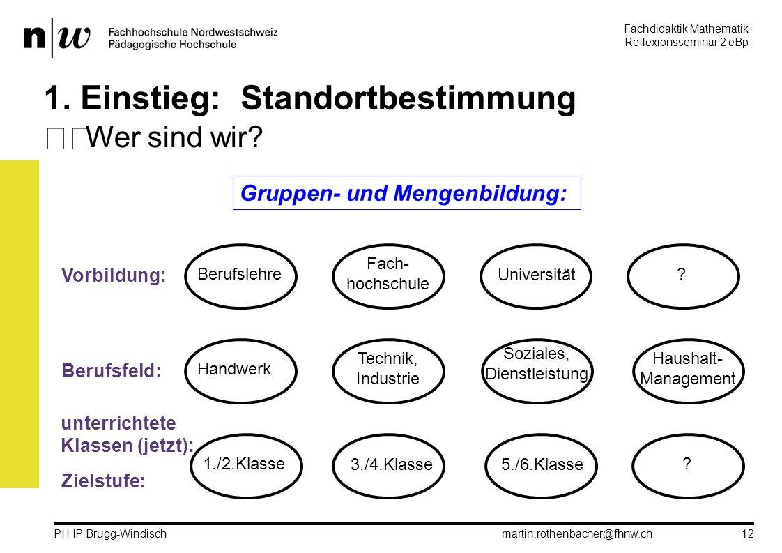 Fachdidaktik Mathematik Reflexionsseminar 2 eBp martin.rothenbacher@fhnw.ch PH IP Brugg-Windisch 12 1.