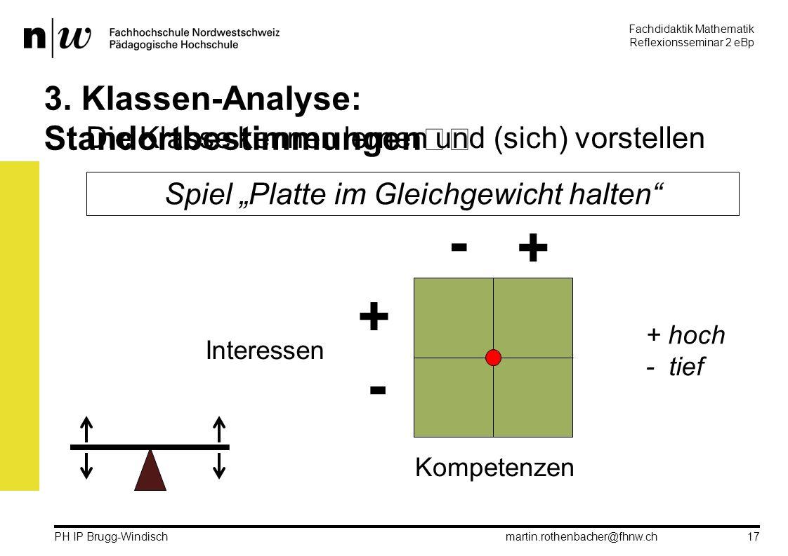 Fachdidaktik Mathematik Reflexionsseminar 2 eBp martin.rothenbacher@fhnw.ch PH IP Brugg-Windisch 17 3.