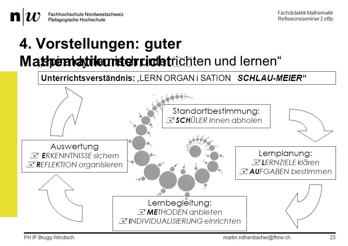 Fachdidaktik Mathematik Reflexionsseminar 2 eBp martin.rothenbacher@fhnw.ch PH IP Brugg-Windisch 23 4.