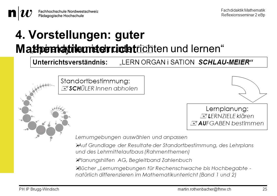 Fachdidaktik Mathematik Reflexionsseminar 2 eBp martin.rothenbacher@fhnw.ch PH IP Brugg-Windisch 25 4.
