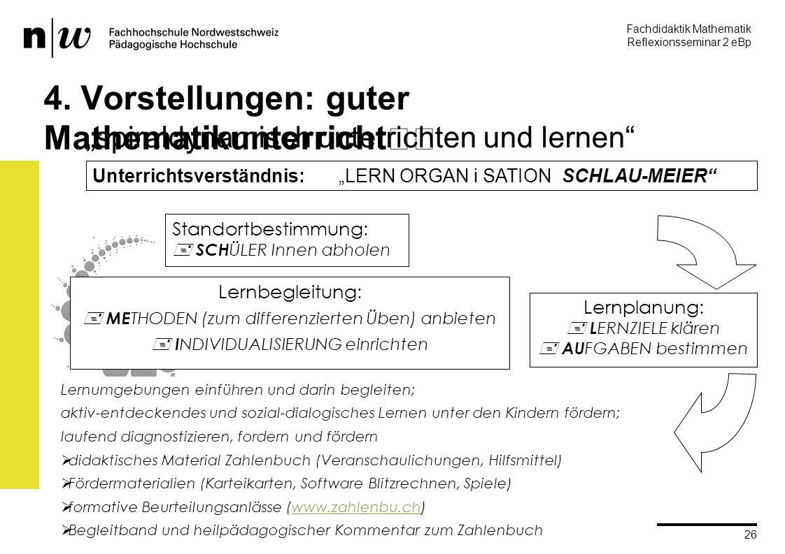 Fachdidaktik Mathematik Reflexionsseminar 2 eBp martin.rothenbacher@fhnw.ch PH IP Brugg-Windisch 26 4.