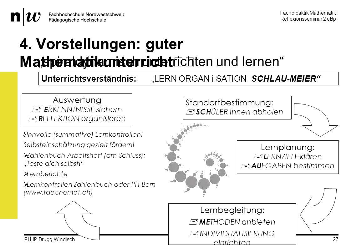 Fachdidaktik Mathematik Reflexionsseminar 2 eBp martin.rothenbacher@fhnw.ch PH IP Brugg-Windisch 27 4.