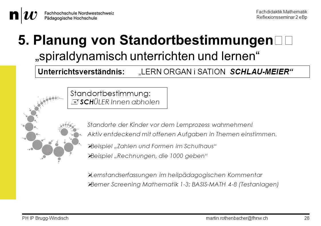 Fachdidaktik Mathematik Reflexionsseminar 2 eBp martin.rothenbacher@fhnw.ch PH IP Brugg-Windisch 28 5.