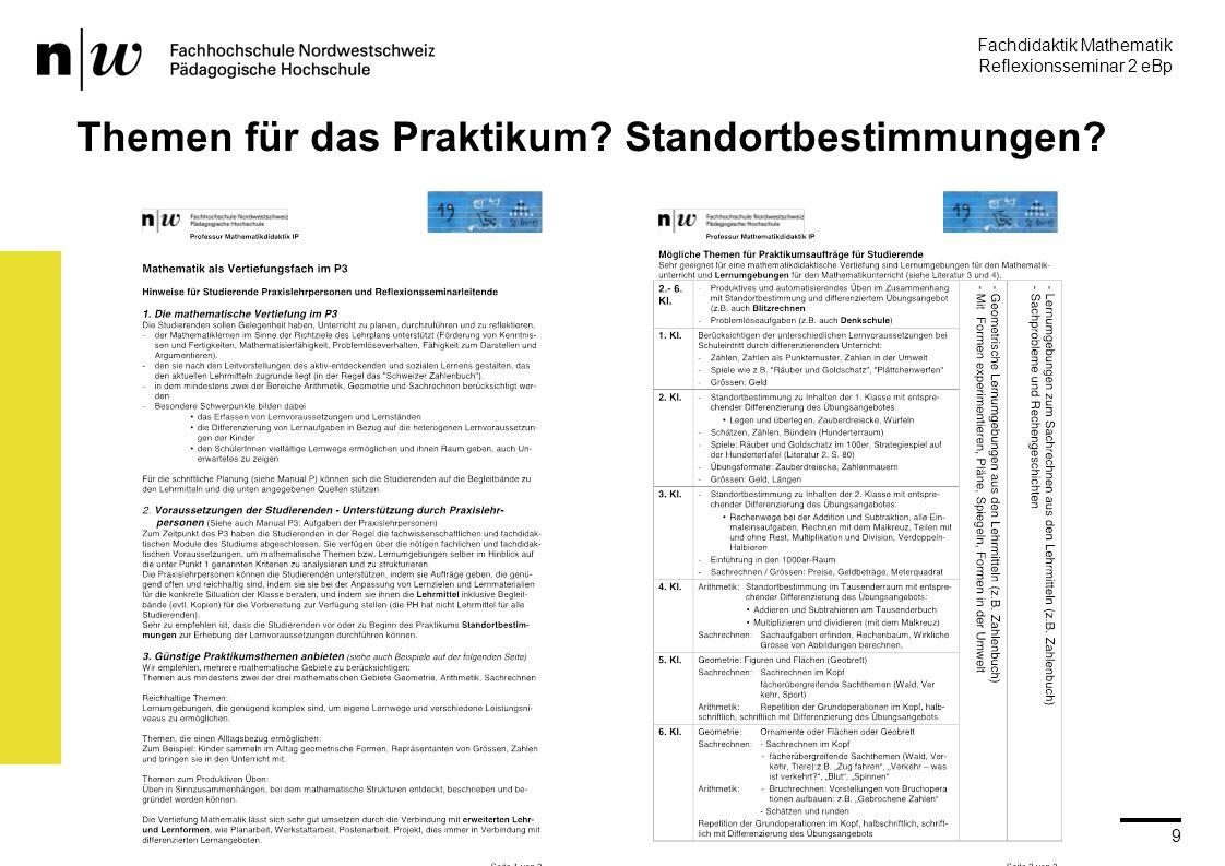 Fachdidaktik Mathematik Reflexionsseminar 2 eBp martin.rothenbacher@fhnw.ch PH IP Brugg-Windisch 9 Themen für das Praktikum.