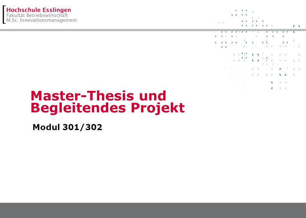 Master-Thesis und Begleitendes Projekt Modul 301/302