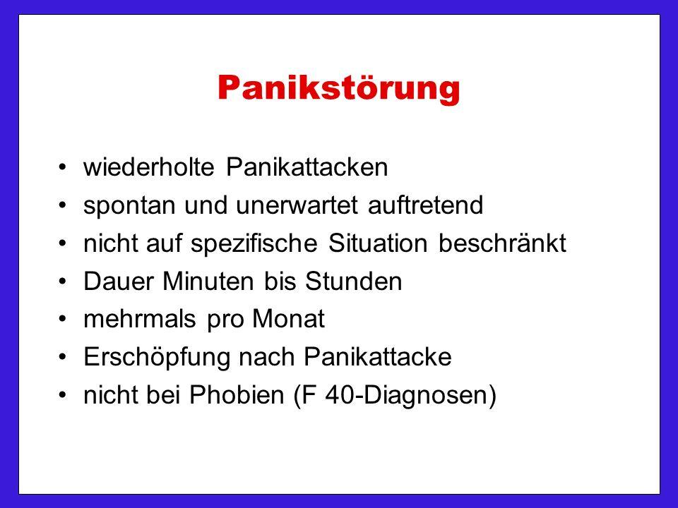 wiederholte Panikattacken spontan und unerwartet auftretend nicht auf spezifische Situation beschränkt Dauer Minuten bis Stunden mehrmals pro Monat Erschöpfung nach Panikattacke nicht bei Phobien (F 40-Diagnosen)