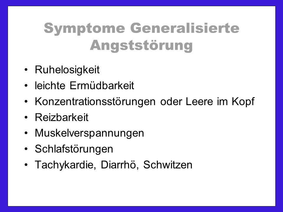 Symptome Generalisierte Angststörung Ruhelosigkeit leichte Ermüdbarkeit Konzentrationsstörungen oder Leere im Kopf Reizbarkeit Muskelverspannungen Schlafstörungen Tachykardie, Diarrhö, Schwitzen