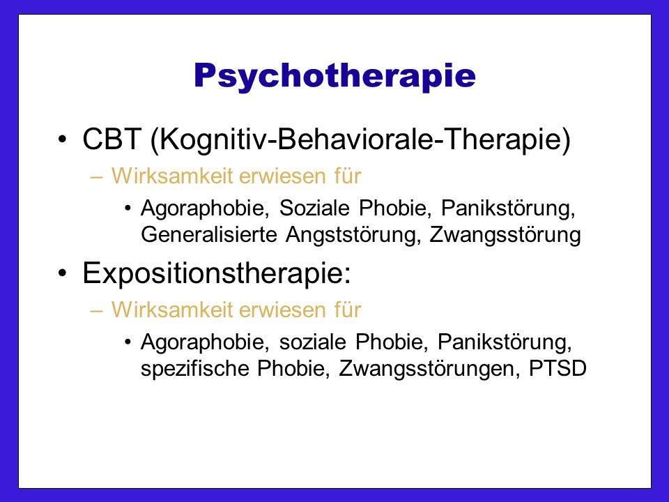 Psychotherapie CBT (Kognitiv-Behaviorale-Therapie) –Wirksamkeit erwiesen für Agoraphobie, Soziale Phobie, Panikstörung, Generalisierte Angststörung, Zwangsstörung Expositionstherapie: –Wirksamkeit erwiesen für Agoraphobie, soziale Phobie, Panikstörung, spezifische Phobie, Zwangsstörungen, PTSD