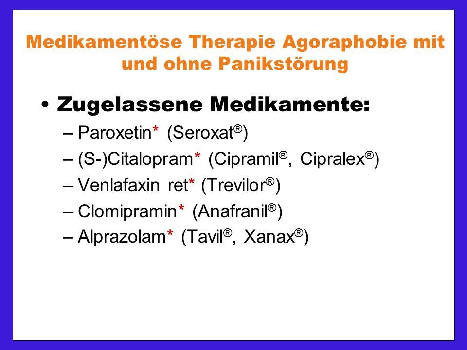Medikamentöse Therapie Agoraphobie mit und ohne Panikstörung Zugelassene Medikamente: –Paroxetin* (Seroxat ® ) –(S-)Citalopram* (Cipramil ®, Cipralex ® ) –Venlafaxin ret* (Trevilor ® ) –Clomipramin* (Anafranil ® ) –Alprazolam* (Tavil ®, Xanax ® )