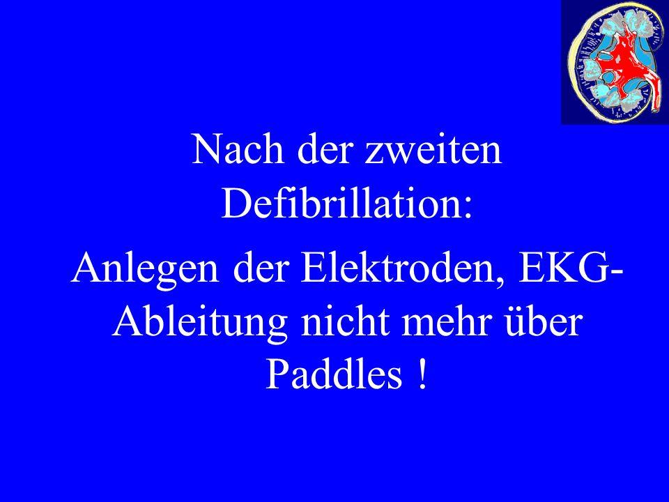 Nach der zweiten Defibrillation: Anlegen der Elektroden, EKG- Ableitung nicht mehr über Paddles !