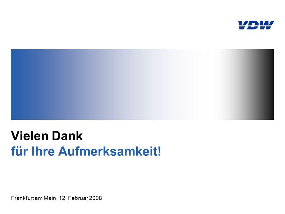 Vielen Dank für Ihre Aufmerksamkeit! Frankfurt am Main, 12. Februar 2008