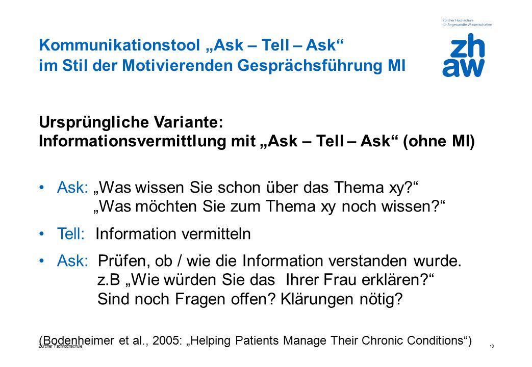 """Kommunikationstool """"Ask – Tell – Ask"""" im Stil der Motivierenden Gesprächsführung MI Ursprüngliche Variante: Informationsvermittlung mit """"Ask – Tell –"""