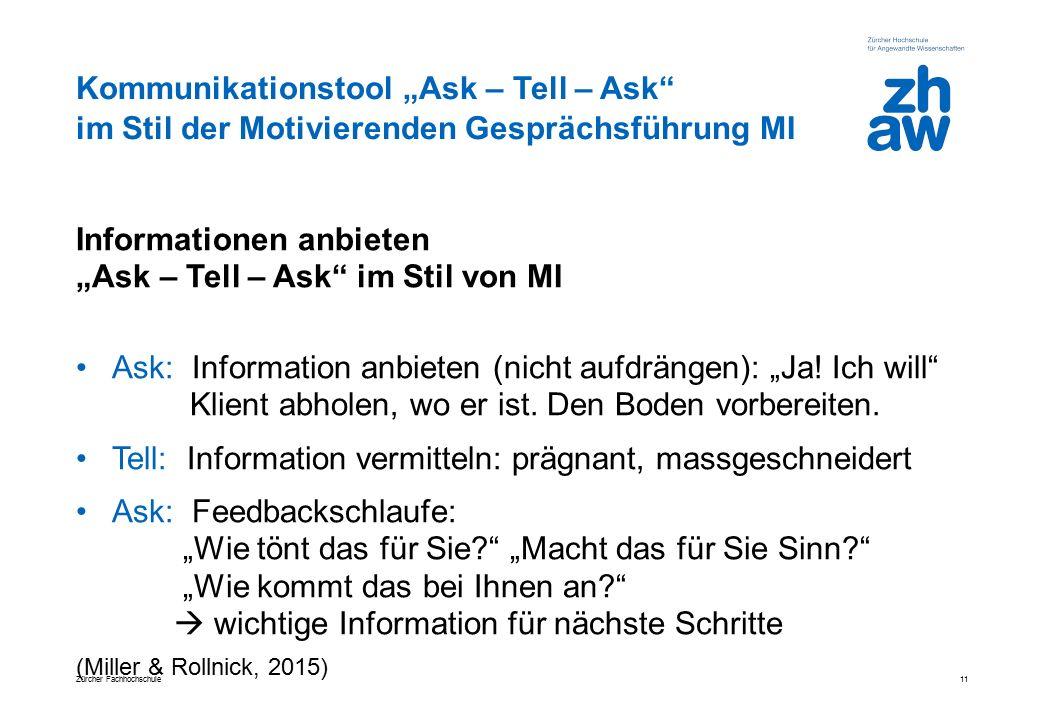 """Kommunikationstool """"Ask – Tell – Ask"""" im Stil der Motivierenden Gesprächsführung MI Informationen anbieten """"Ask – Tell – Ask"""" im Stil von MI Ask: Info"""