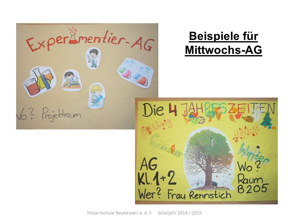 Beispiele für Mittwochs-AG Mozartschule Neuhausen a. d. F. Schuljahr 2014 / 2015