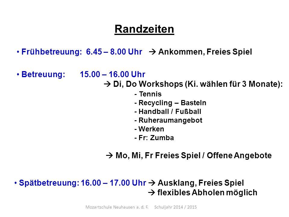 Randzeiten Frühbetreuung: 6.45 – 8.00 Uhr  Ankommen, Freies Spiel Betreuung: 15.00 – 16.00 Uhr  Di, Do Workshops (Ki.