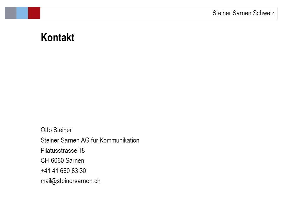 Otto Steiner Steiner Sarnen AG für Kommunikation Pilatusstrasse 18 CH-6060 Sarnen +41 41 660 83 30 mail@steinersarnen.ch Kontakt Steiner Sarnen Schweiz