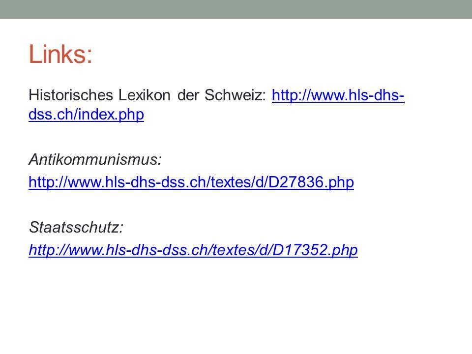 Links: Historisches Lexikon der Schweiz: http://www.hls-dhs- dss.ch/index.phphttp://www.hls-dhs- dss.ch/index.php Antikommunismus: http://www.hls-dhs-