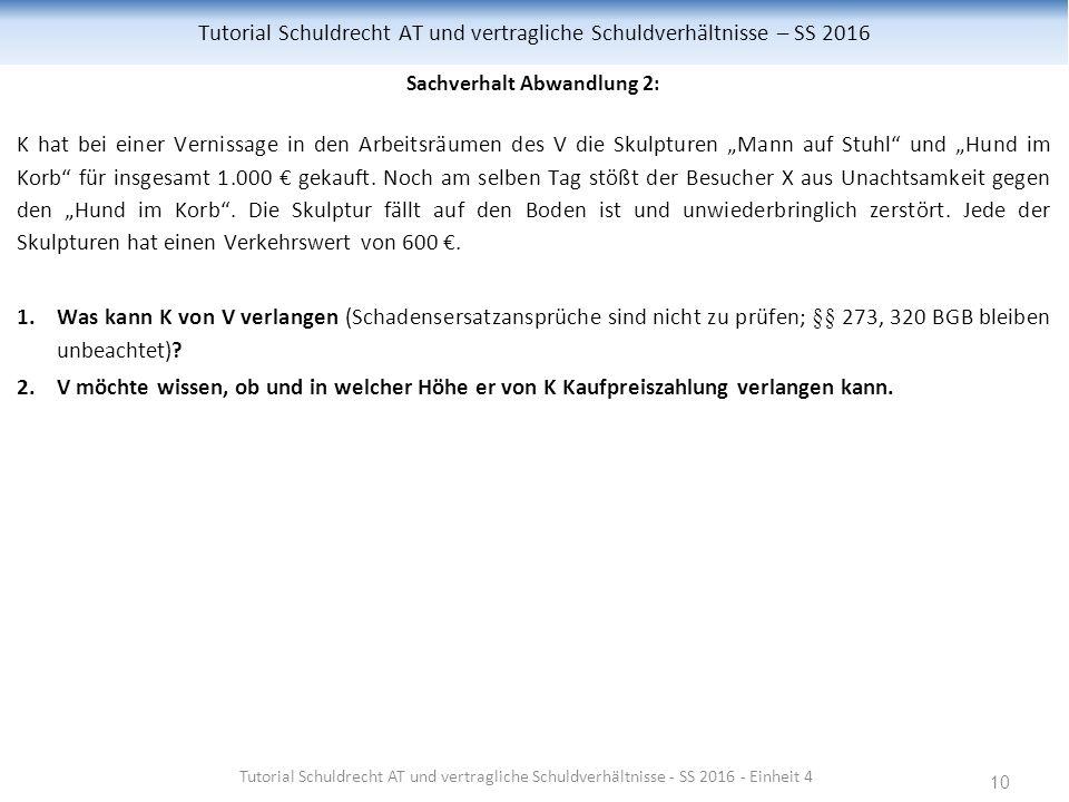 """10 Tutorial Schuldrecht AT und vertragliche Schuldverhältnisse – SS 2016 Sachverhalt Abwandlung 2: K hat bei einer Vernissage in den Arbeitsräumen des V die Skulpturen """"Mann auf Stuhl und """"Hund im Korb für insgesamt 1.000 € gekauft."""