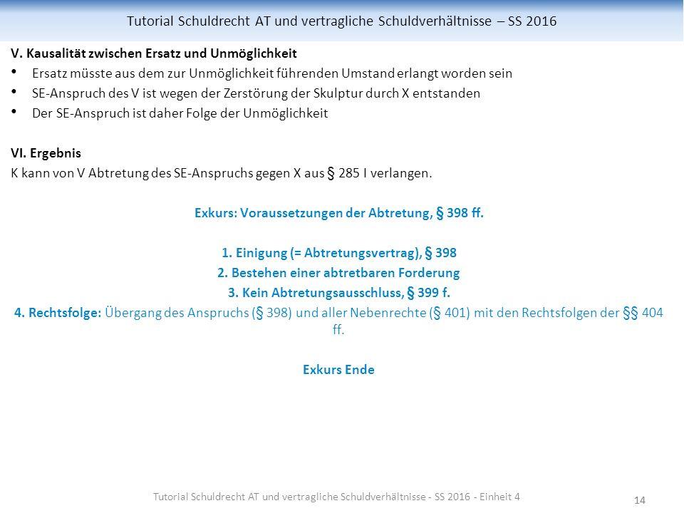 14 Tutorial Schuldrecht AT und vertragliche Schuldverhältnisse – SS 2016 V.