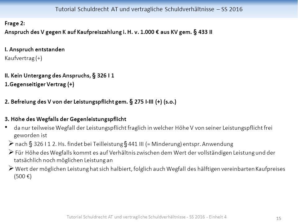 15 Tutorial Schuldrecht AT und vertragliche Schuldverhältnisse – SS 2016 Frage 2: Anspruch des V gegen K auf Kaufpreiszahlung i.