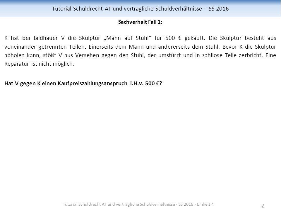"""2 Tutorial Schuldrecht AT und vertragliche Schuldverhältnisse – SS 2016 Sachverhalt Fall 1: K hat bei Bildhauer V die Skulptur """"Mann auf Stuhl für 500 € gekauft."""