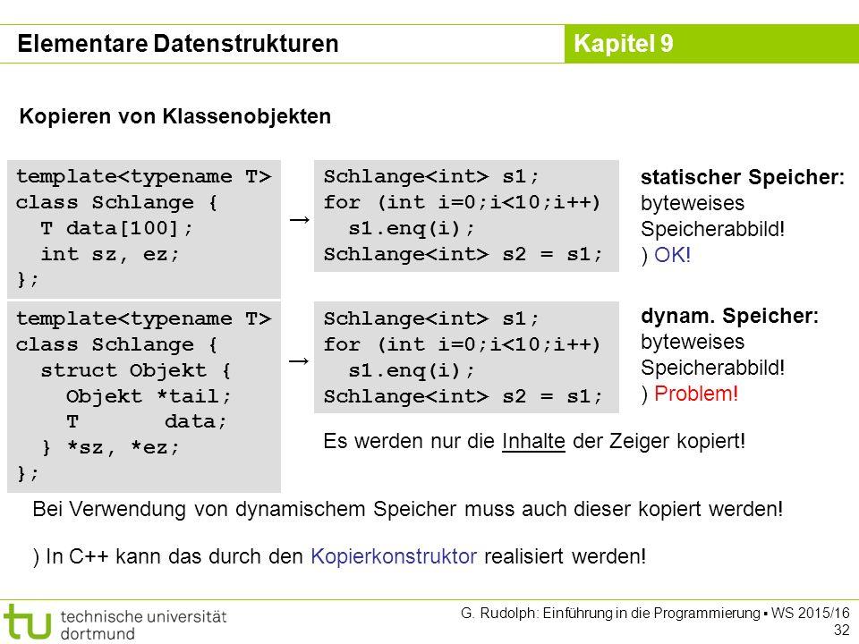 Kapitel 9 Elementare Datenstrukturen Kopieren von Klassenobjekten template class Schlange { T data[100]; int sz, ez; }; Schlange s1; for (int i=0;i<10;i++) s1.enq(i); Schlange s2 = s1; statischer Speicher: byteweises Speicherabbild.