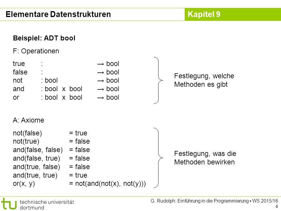 Kapitel 9 G. Rudolph: Einführung in die Programmierung ▪ WS 2015/16 4 Beispiel: ADT bool F: Operationen true: → bool false: → bool not: bool→ bool and