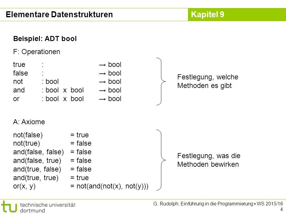 Kapitel 9 Elementare Datenstrukturen Kopierkonstruktor (copy constructor) template class Schlange { public: Schlange(); // Konstruktor Schlange(const Schlange & s); ~Schlange(); // Destruktor }; Kopierkonstruktor template Schlange ::Schlange(const Schlange & s){ ez = nullptr; Objekt *ptr = s.sz; while (ptr != nullptr) { enq(ptr->data); ptr = ptr->tail; } Kann wie eine Zuweisung interpretiert werden.