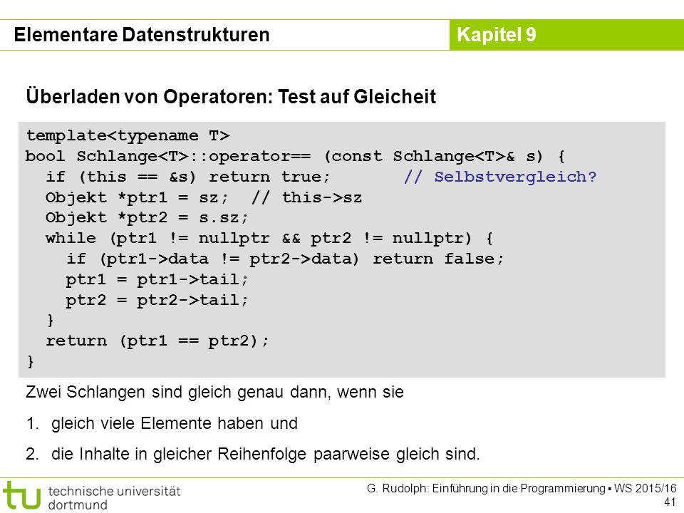 Kapitel 9 Elementare Datenstrukturen Überladen von Operatoren: Test auf Gleicheit template bool Schlange ::operator== (const Schlange & s) { if (this == &s) return true; // Selbstvergleich.