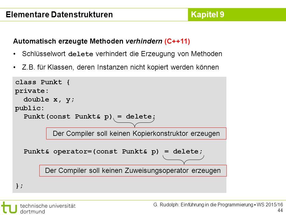 Kapitel 9 Elementare Datenstrukturen Automatisch erzeugte Methoden verhindern (C++11) Schlüsselwort delete verhindert die Erzeugung von Methoden Z.B.