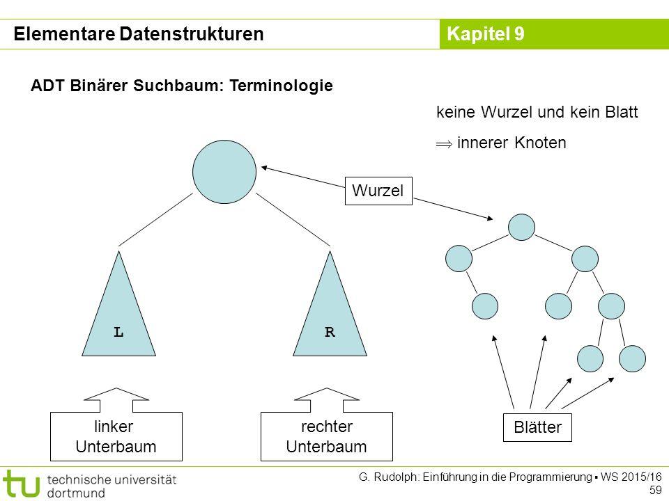 Kapitel 9 ADT Binärer Suchbaum: Terminologie LR linker Unterbaum rechter Unterbaum Wurzel Blätter keine Wurzel und kein Blatt  innerer Knoten Elementare Datenstrukturen G.