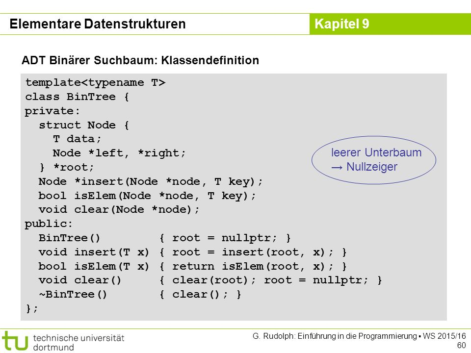 Kapitel 9 ADT Binärer Suchbaum: Klassendefinition template class BinTree { private: struct Node { T data; Node *left, *right; } *root; Node *insert(No