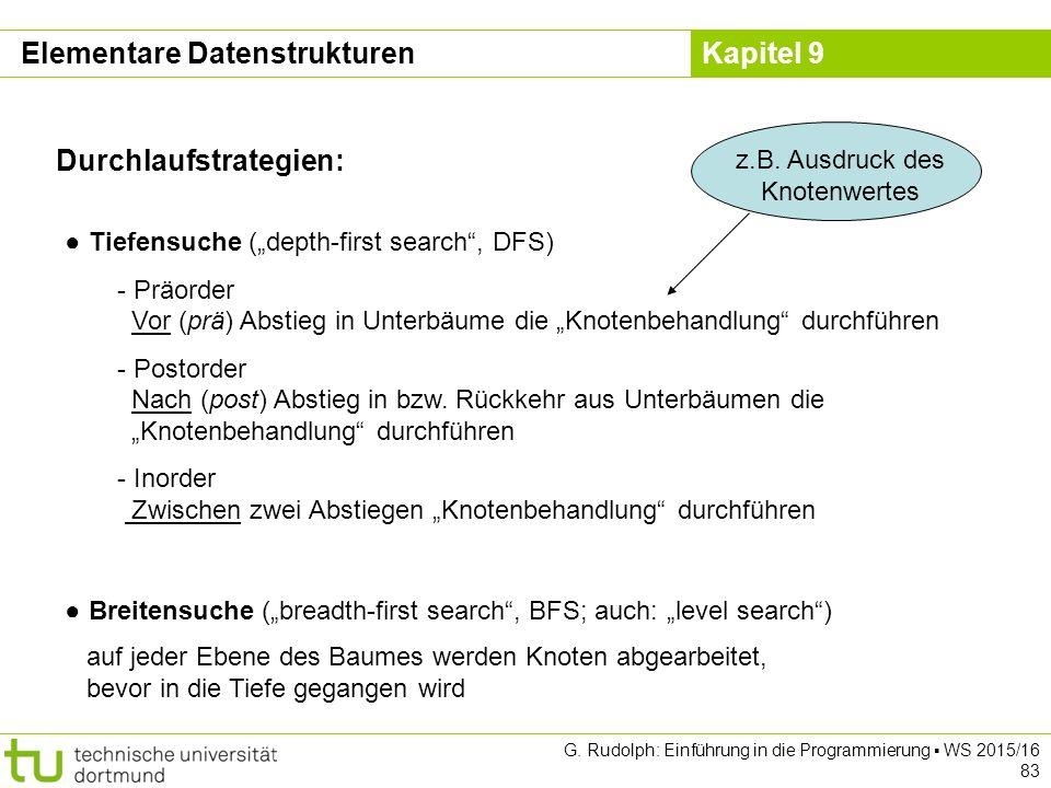 """Kapitel 9 Durchlaufstrategien: ● Tiefensuche (""""depth-first search , DFS) - Präorder Vor (prä) Abstieg in Unterbäume die """"Knotenbehandlung durchführen - Postorder Nach (post) Abstieg in bzw."""