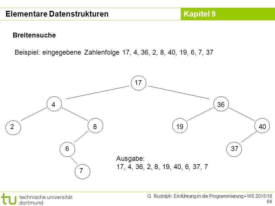 Kapitel 9 Breitensuche Beispiel: eingegebene Zahlenfolge 17, 4, 36, 2, 8, 40, 19, 6, 7, 37 17 436 281940 637 7 Ausgabe: 17, 4, 36, 2, 8, 19, 40, 6, 37, 7 Elementare Datenstrukturen G.