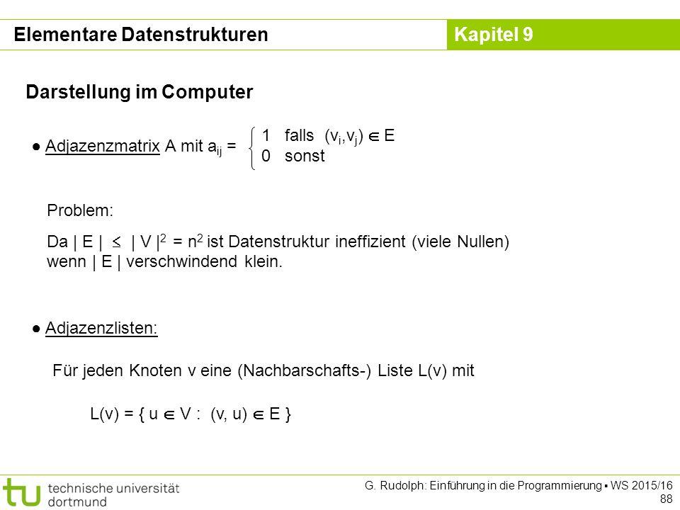 Kapitel 9 Darstellung im Computer ● Adjazenzmatrix A mit a ij = 1 falls (v i,v j )  E 0 sonst Problem: Da | E |  | V | 2 = n 2 ist Datenstruktur ineffizient (viele Nullen) wenn | E | verschwindend klein.