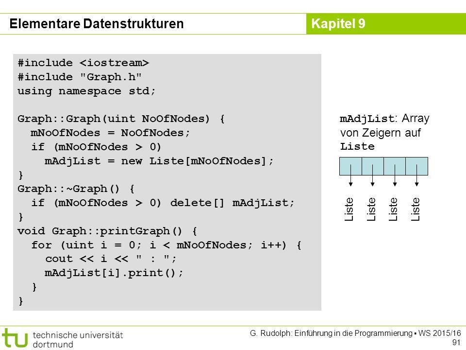 Kapitel 9 #include #include Graph.h using namespace std; Graph::Graph(uint NoOfNodes) { mNoOfNodes = NoOfNodes; if (mNoOfNodes > 0) mAdjList = new Liste[mNoOfNodes]; } Graph::~Graph() { if (mNoOfNodes > 0) delete[] mAdjList; } void Graph::printGraph() { for (uint i = 0; i < mNoOfNodes; i++) { cout << i << : ; mAdjList[i].print(); } mAdjList : Array von Zeigern auf Liste Liste Elementare Datenstrukturen G.