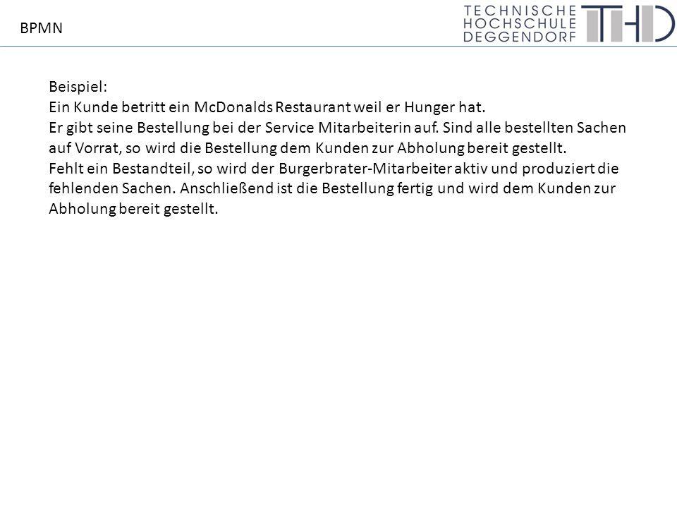 Beispiel: Ein Kunde betritt ein McDonalds Restaurant weil er Hunger hat.