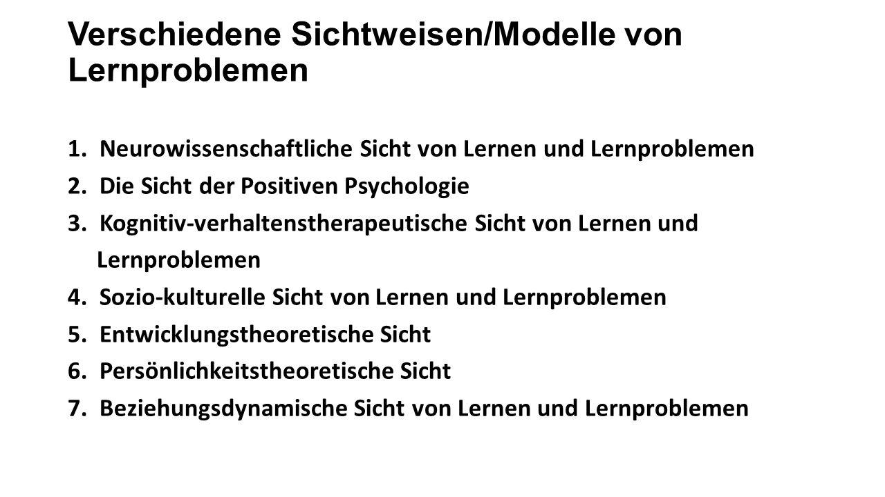 Verschiedene Sichtweisen/Modelle von Lernproblemen 1.