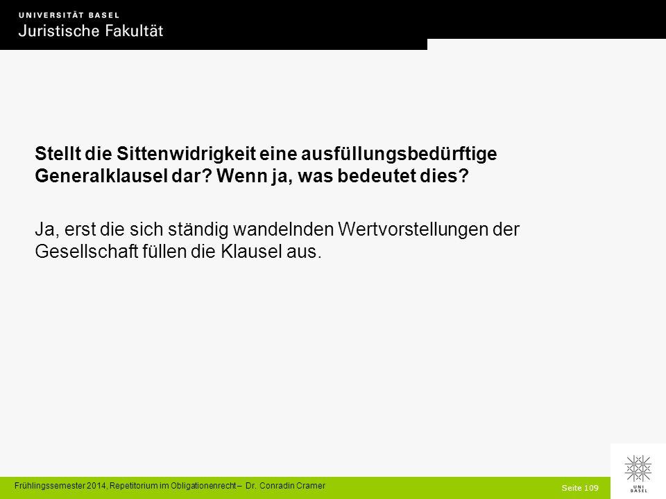 Seite 109 Frühlingssemester 2014, Repetitorium im Obligationenrecht – Dr.