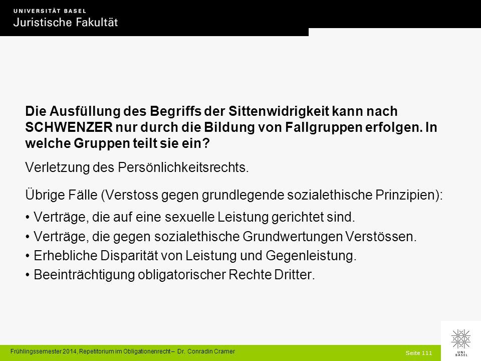 Seite 111 Frühlingssemester 2014, Repetitorium im Obligationenrecht – Dr.