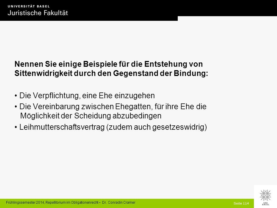 Seite 114 Frühlingssemester 2014, Repetitorium im Obligationenrecht – Dr.