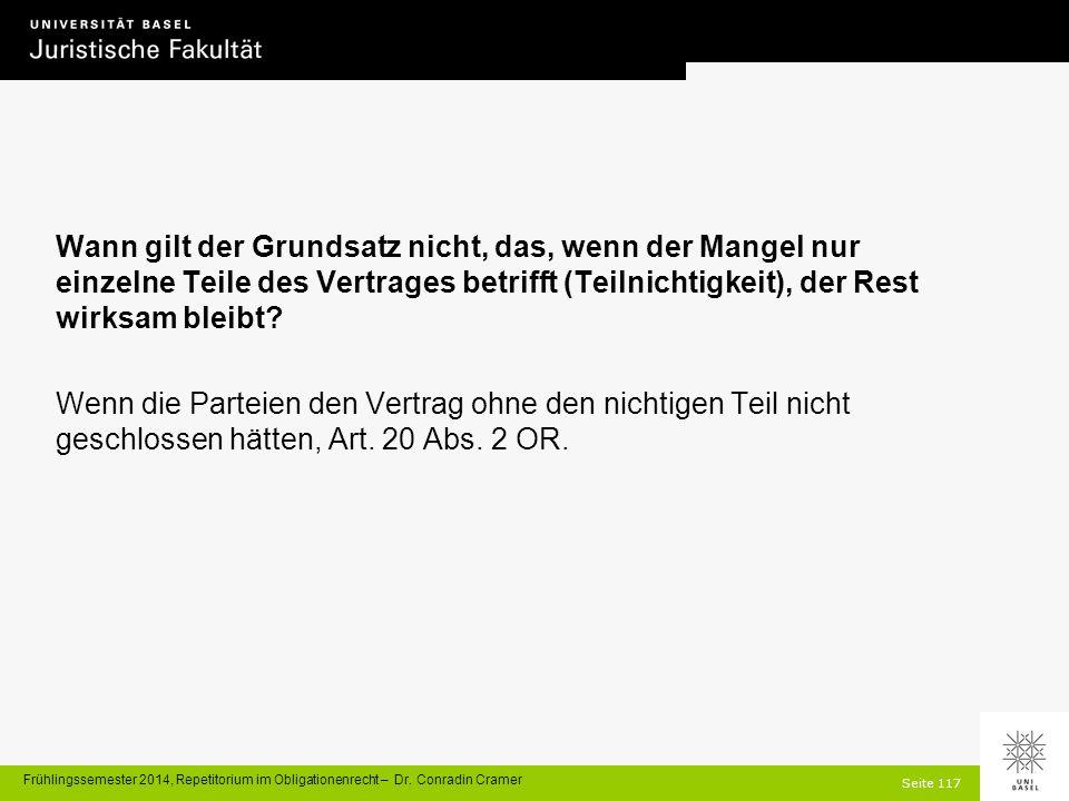 Seite 117 Frühlingssemester 2014, Repetitorium im Obligationenrecht – Dr.