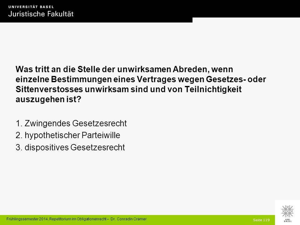 Seite 119 Frühlingssemester 2014, Repetitorium im Obligationenrecht – Dr.