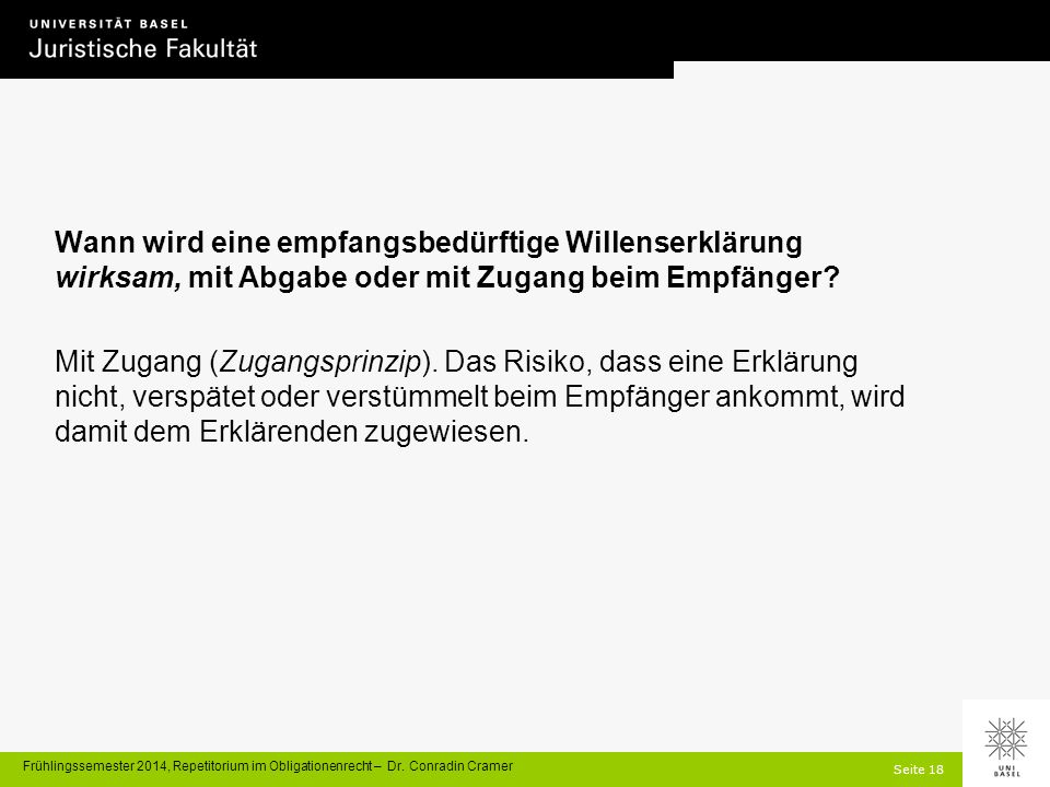 Seite 18 Frühlingssemester 2014, Repetitorium im Obligationenrecht – Dr.